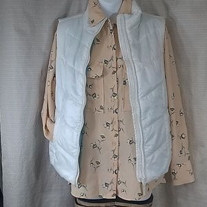 NWT ELODIE floral peach button up blouse size S